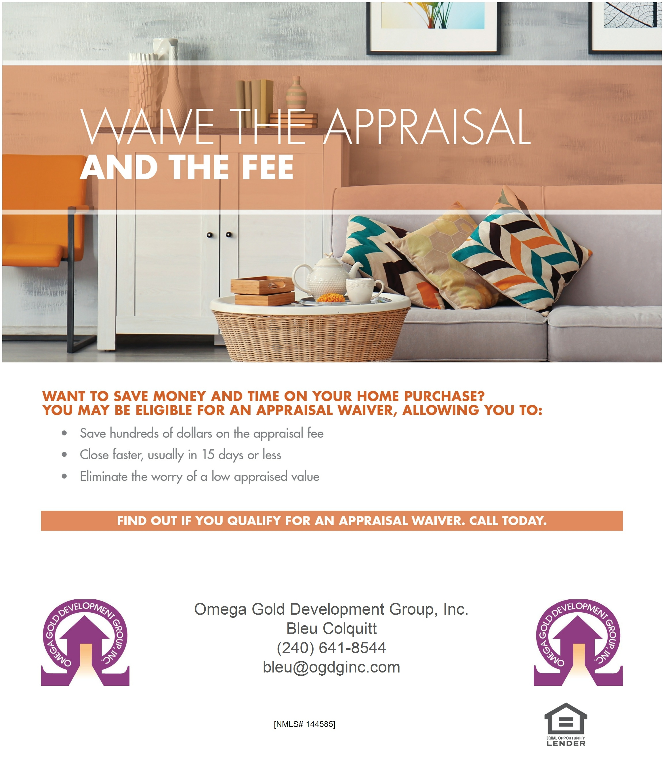 The PERFECT HOME is waiting for you -- let us find you the perfect loan to go with it. WAIVE THE APPRAISAL AND THE FEE!