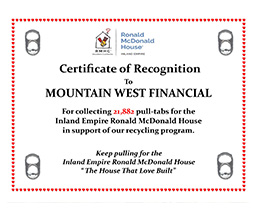 Ronald McDonald House Pull Tab Donations